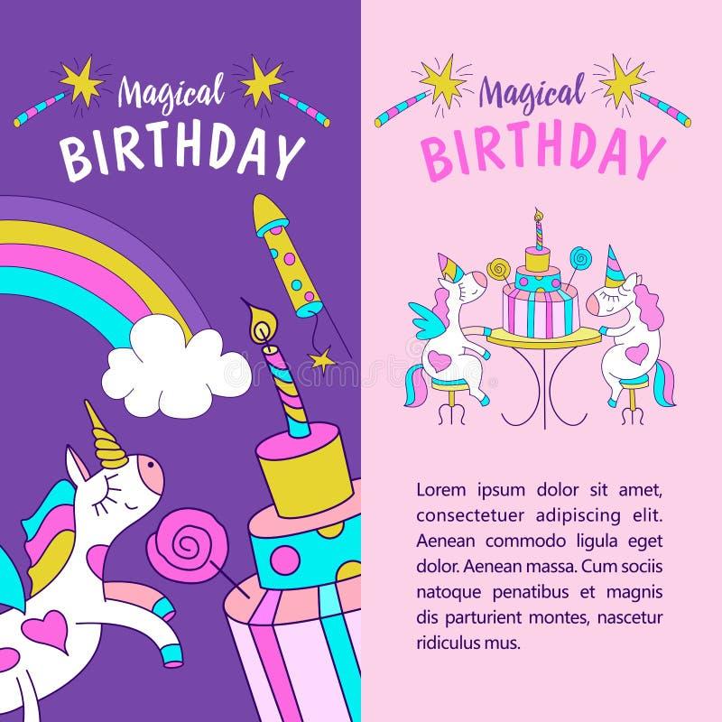 unicorns Ilustração do feliz aniversario ilustração stock