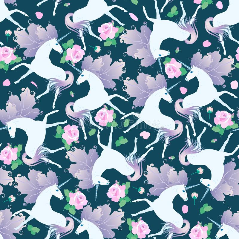 Unicorns with lilac manes in shape of viburnum leaves and beautiful pink roses, leaves, petals and buds on dark green background. Seamless pattern vector illustration