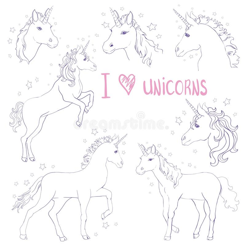 Unicorns are real quote, vector illustration drawing. Cute unicorn graphic print isolated on white background. stock illustration