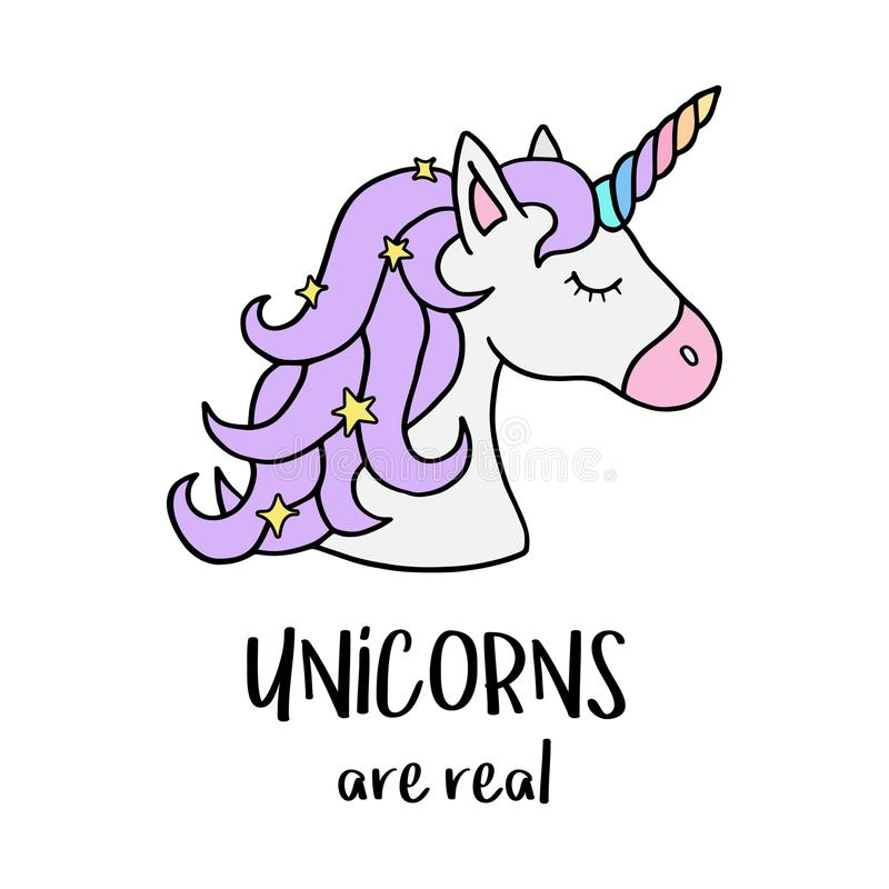 Unicorns are real, unicorn`s head with rainbow horn. Unicorns are real quote, vector illustration drawing. Cute unicorn graphic print isolated on white