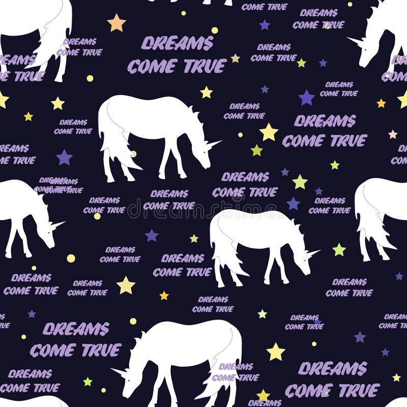 Unicorns seamless pattern with stars. Vector illustration. Dreams come true text. Background for textile, bedding, wallpapers, pos. Unicorns seamless pattern stock illustration