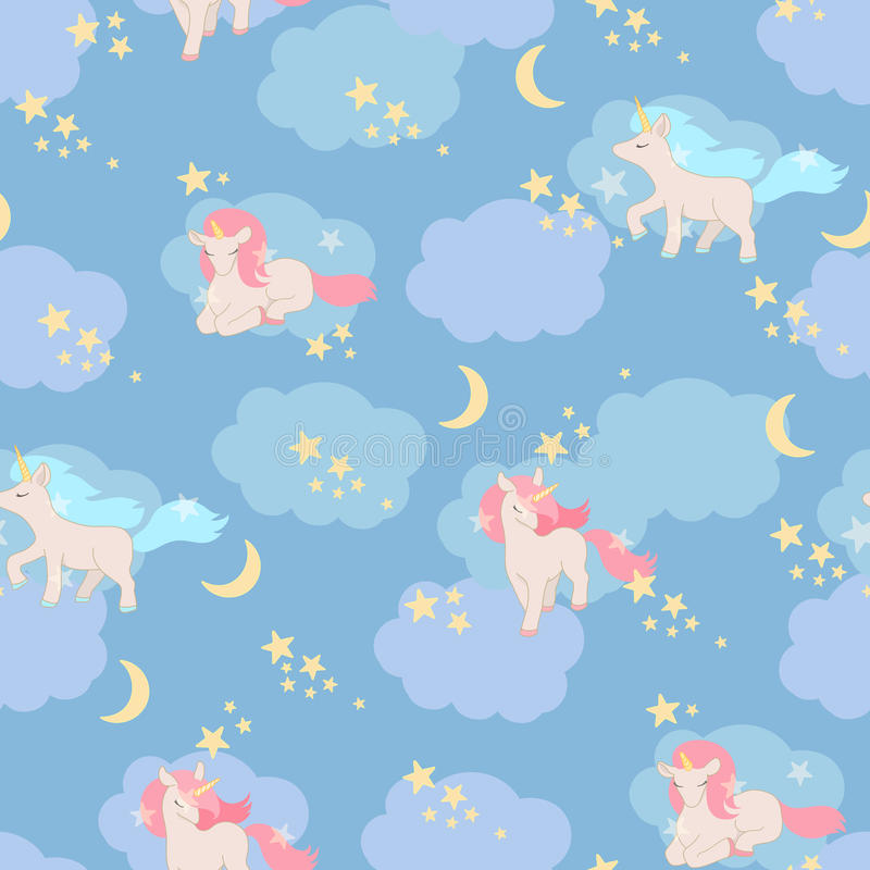 Unicorns seamless pattern. Vector elements for design stock illustration