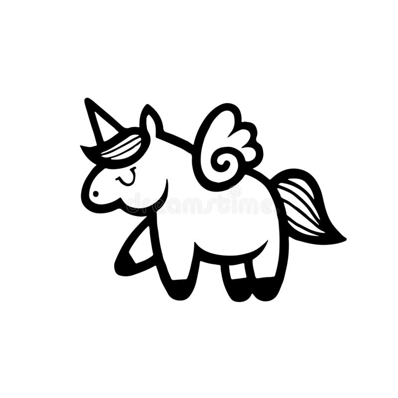 unicorns Vektorabbildung getrennt auf weißem Hintergrund stock abbildung