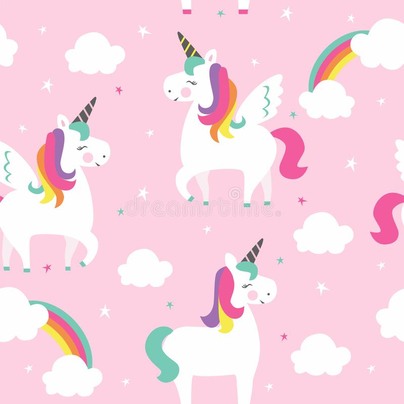 Unicorns with wings, stars and clouds. royalty free illustration