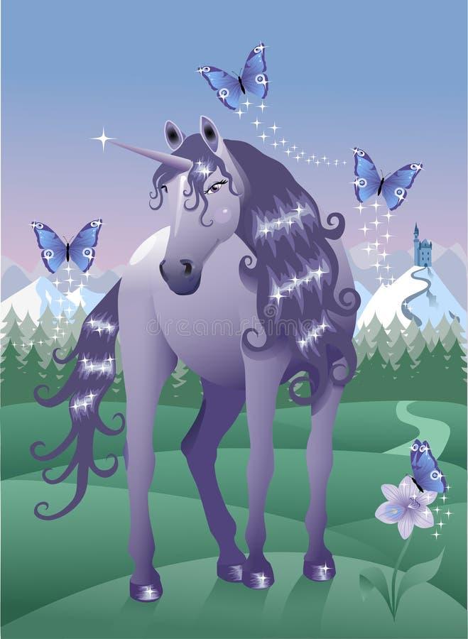 unicornviolet vektor illustrationer