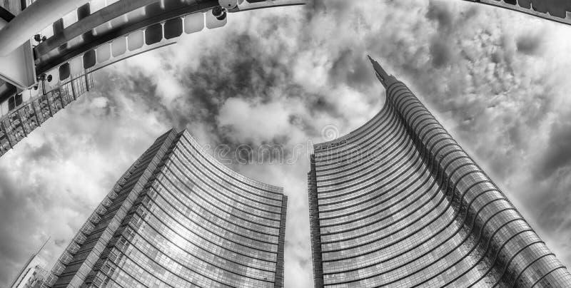 Unicredit塔建筑群,米兰, Ita全景  免版税图库摄影