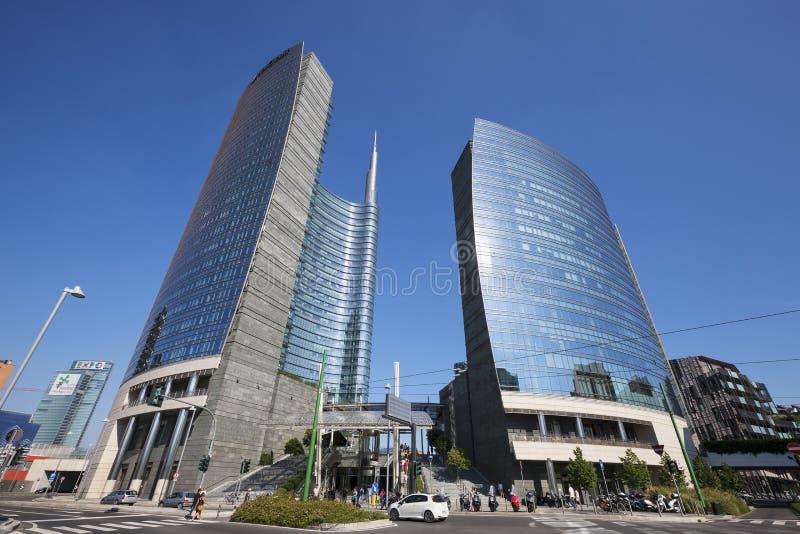 Unicredit skyskrapatorn, Milan royaltyfri bild