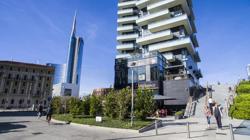 Unicredit tower and Tower Solaria, seen from via Amerigo Vespucci, Milan, Italy. Unicredit tower, seen from via Amerigo Vespucci, Milan, Italy. The tallest royalty free stock photo
