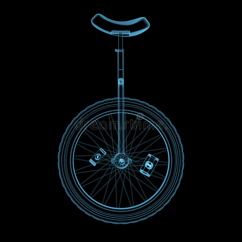 Unicycle (3D Xray Blue Transparent) Royalty Free Stock Image