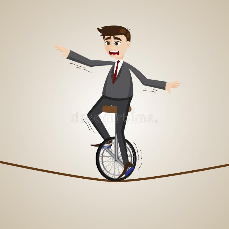 Unicycle del montar a caballo del hombre de negocios de la historieta en cuerda stock de ilustración