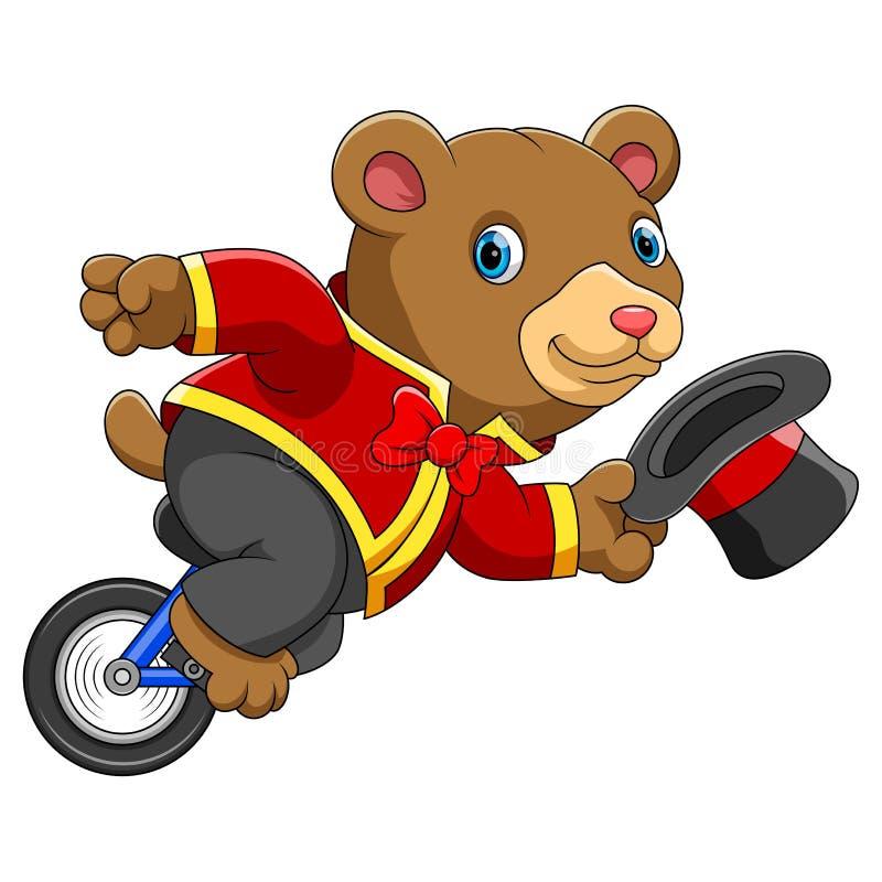 Unicycle del montar a caballo del oso del circo stock de ilustración