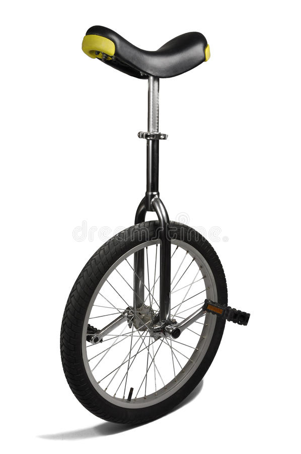 Unicycle isolato su bianco fotografia stock libera da diritti