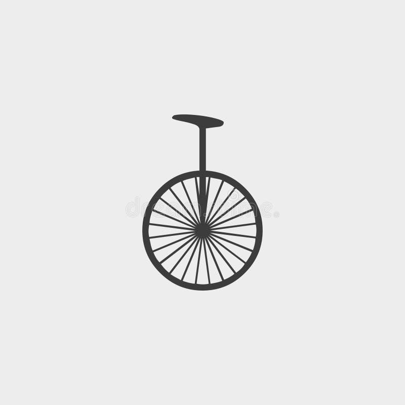 Unicyclepictogram in een vlak ontwerp in zwarte kleur Vector illustratie EPS10 royalty-vrije illustratie