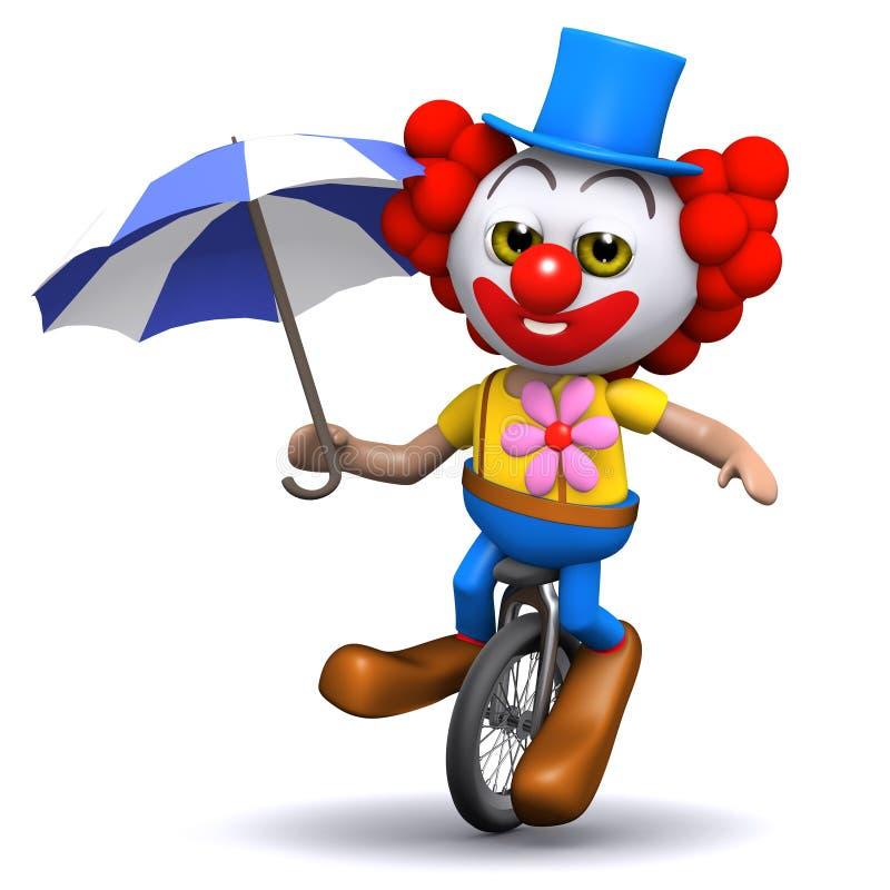 unicycles del payaso 3d bajo umbrellaq ilustración del vector
