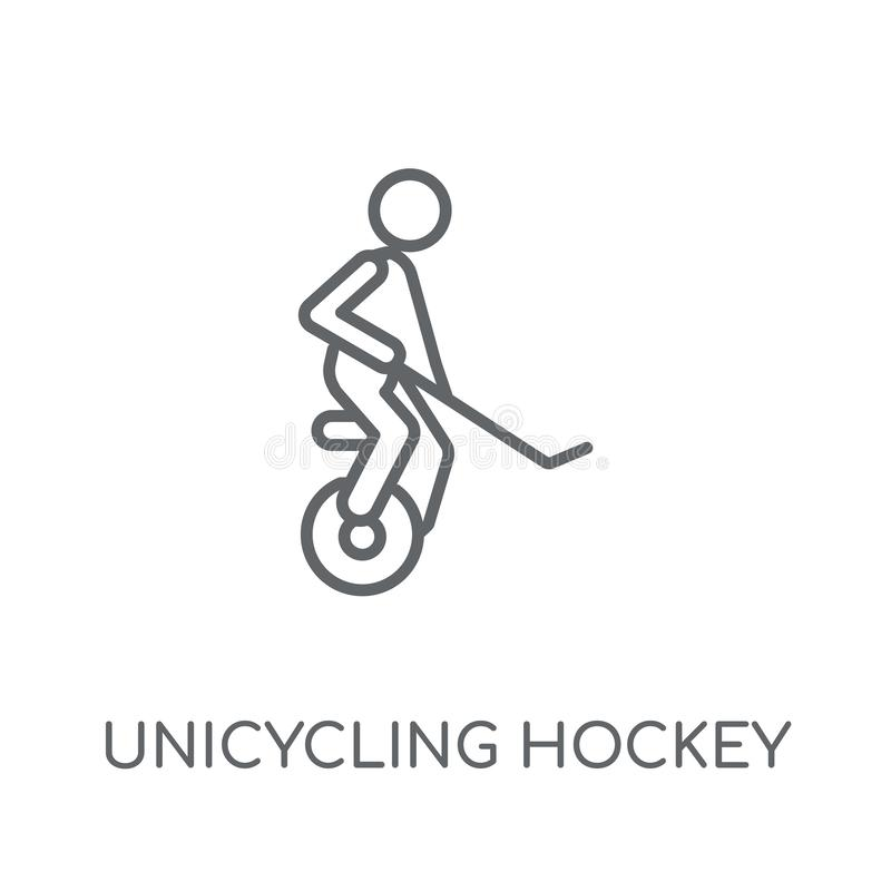 unicycling hockey linear icon. Modern outline unicycling hockey stock illustration