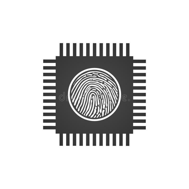Unidad central de proceso de la CPU con la huella dactilar, el concepto de la seguridad, el icono del chip de ordenador o del mic libre illustration