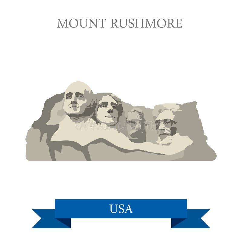 Unidad conmemorativa nacional del monte Rushmore Dakota del Sur stock de ilustración