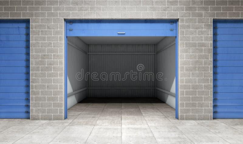 Unidad de almacenamiento vacía del uno mismo de la puerta abierta stock de ilustración