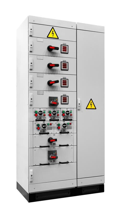 Unidad de control industrial de la fuente de alimentación, caja de la fuente de energía eléctrica aislada en el fondo blanco imagenes de archivo
