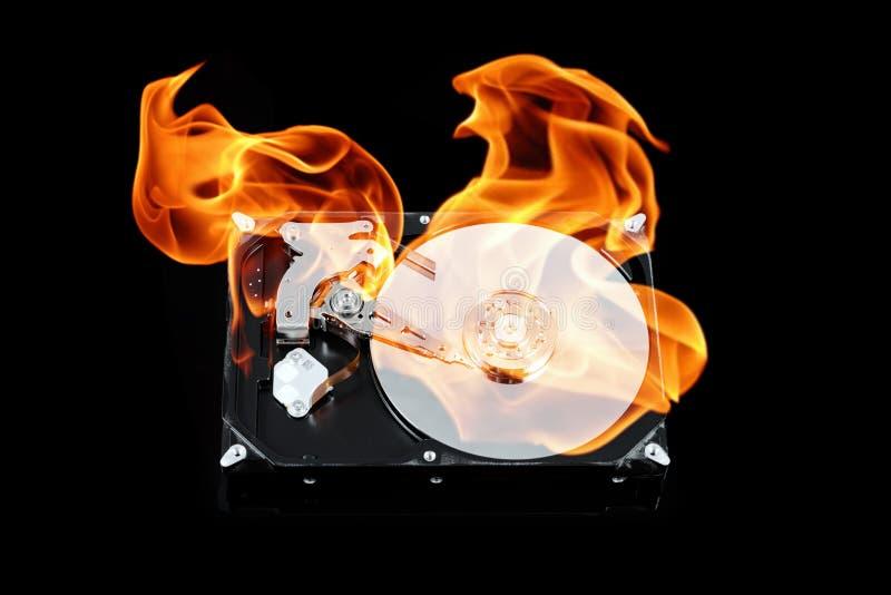 Unidad de disco duro externa abierta en el fuego Fracaso del disco duro Concepto de la pérdida de datos, desplome del ordenador imagen de archivo libre de regalías
