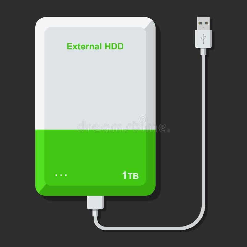 Unidad de disco duro externa con el cable del USB aislado en fondo oscuro HDD extern portátil Impulsión de la memoria libre illustration