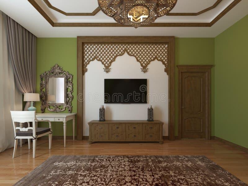 Unidad de la TV, en un marco de madera alrededor, estilo árabe Estilo del este del dormitorio ilustración del vector