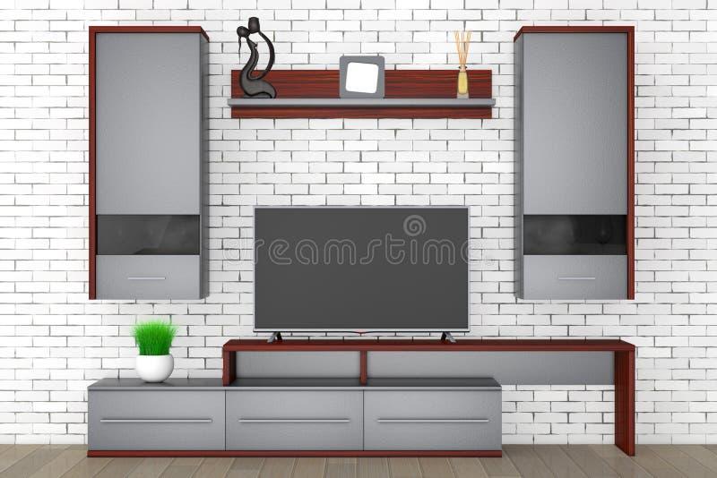 Unidad de pared moderna de la sala de estar representación 3d ilustración del vector