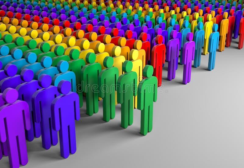 Unidad de todas las naciones Siluetas coloreadas de la gente ilustración del vector