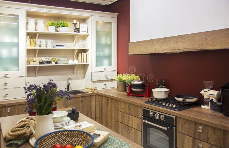Unidade da cozinha no interior fotografia de stock
