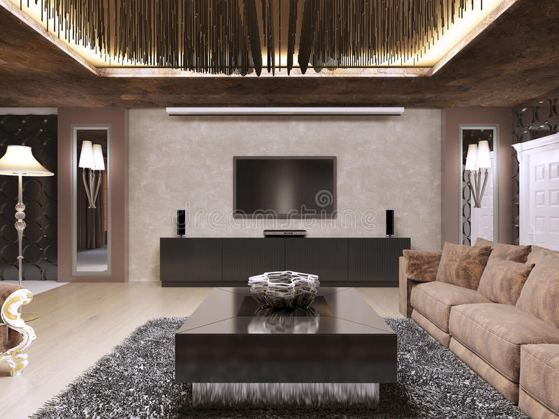 A unidade da tevê na sala de visitas luxuosa projetou no estilo moderno ilustração stock