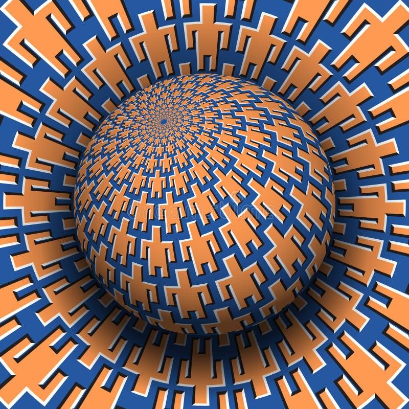 Unidade do conceito da ilusão ótica dos povos Esfera modelada crescente sobre a superfície móvel com símbolos dos homens ilustração royalty free