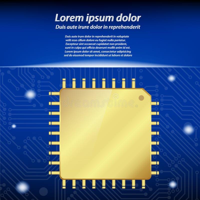 Unidade do processador central do processador central do ouro com placa de circuito ilustração royalty free
