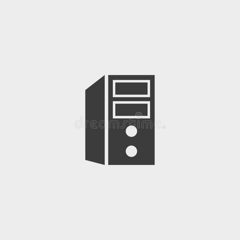 Unidade do sistema informático do ícone em um projeto liso na cor preta Ilustração EPS10 do vetor ilustração do vetor