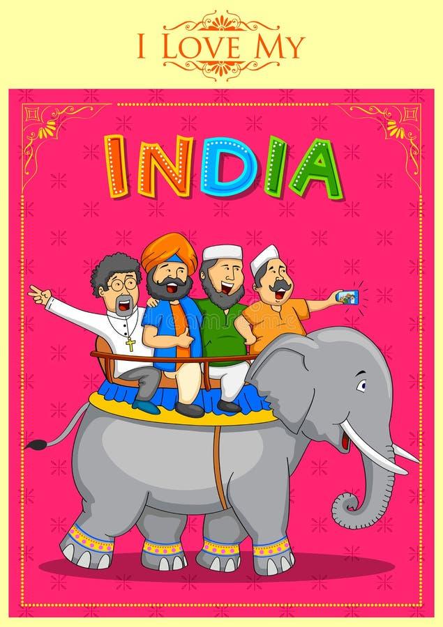 Unidade na diversidade da Índia ilustração do vetor