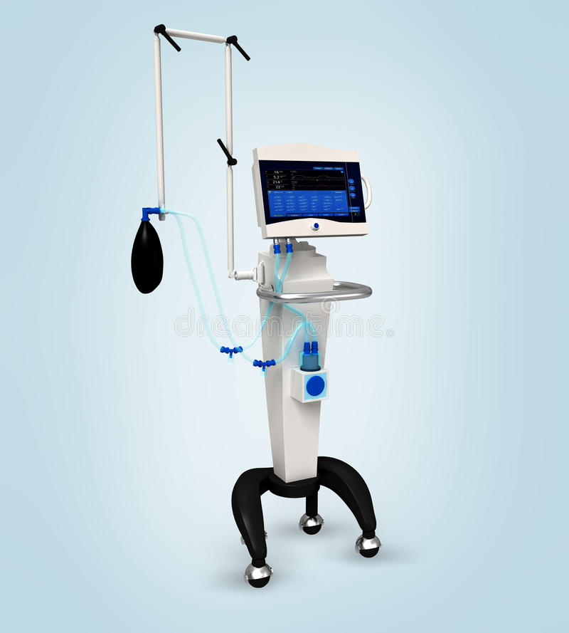 Unidade respiratória do ventilador médico do hospital ilustração do vetor