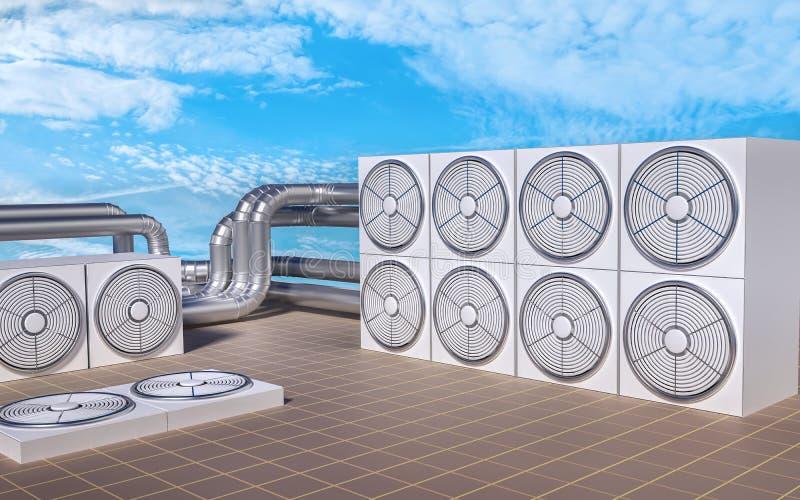 Unidades da ATAC (aquecimento, ventilação, condicionamento de ar) no telhado ilustração 3D ilustração do vetor