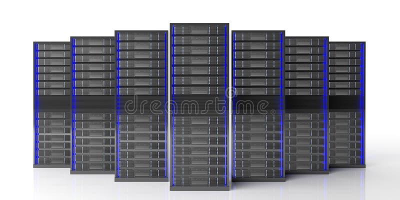 Unidades de almacenamiento del servidor del ordenador en el fondo blanco ilustración 3D libre illustration