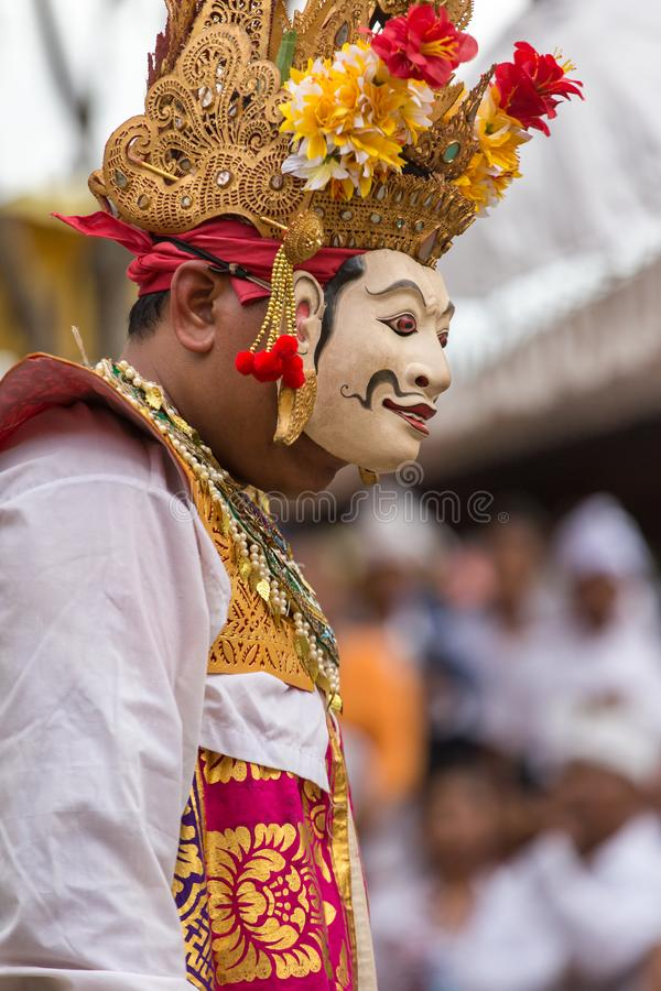 Unidentified balinese man performing in mask during Galungan celebration in Ubud, Bali royalty free stock photos