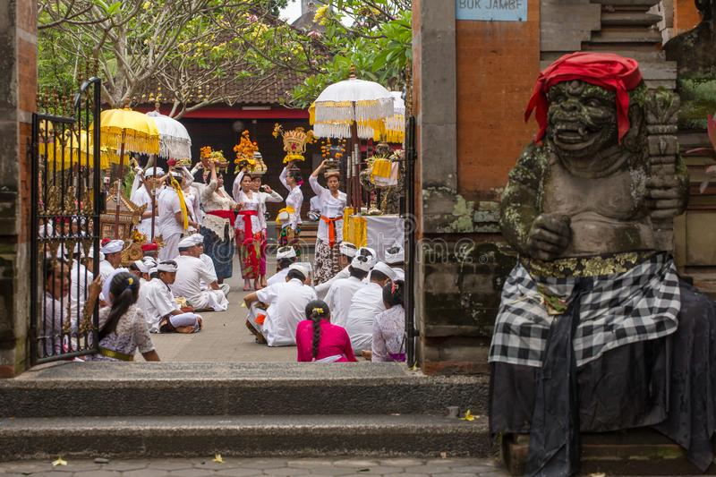Unidentified balinese people take part in religious ceremony in hindu temple. stock photos