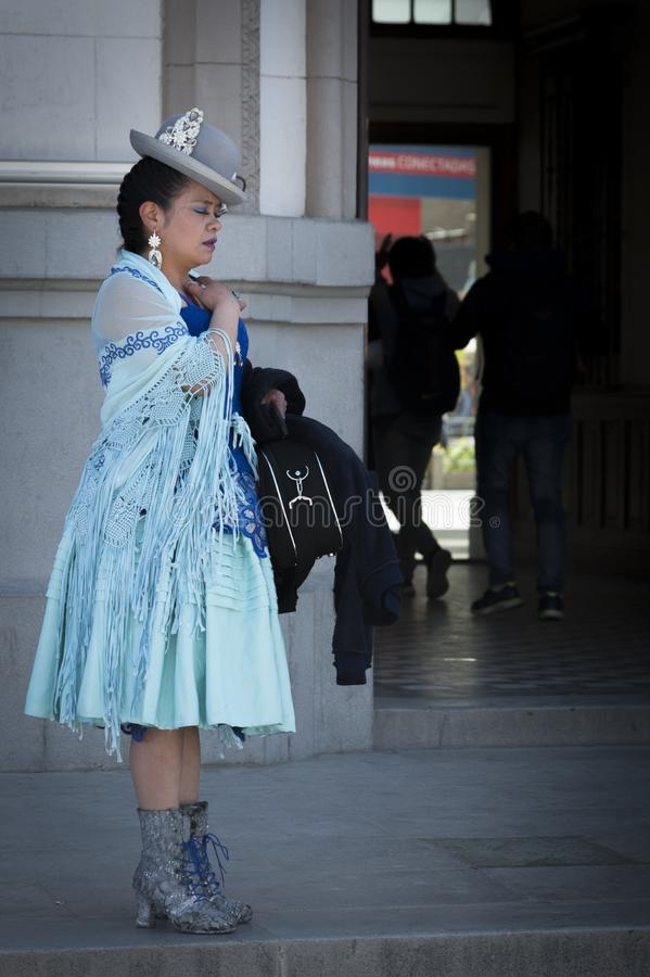 Unidentified bolivian woman or Cholita wearing traditional clothing La Paz, Bolivia stock photo