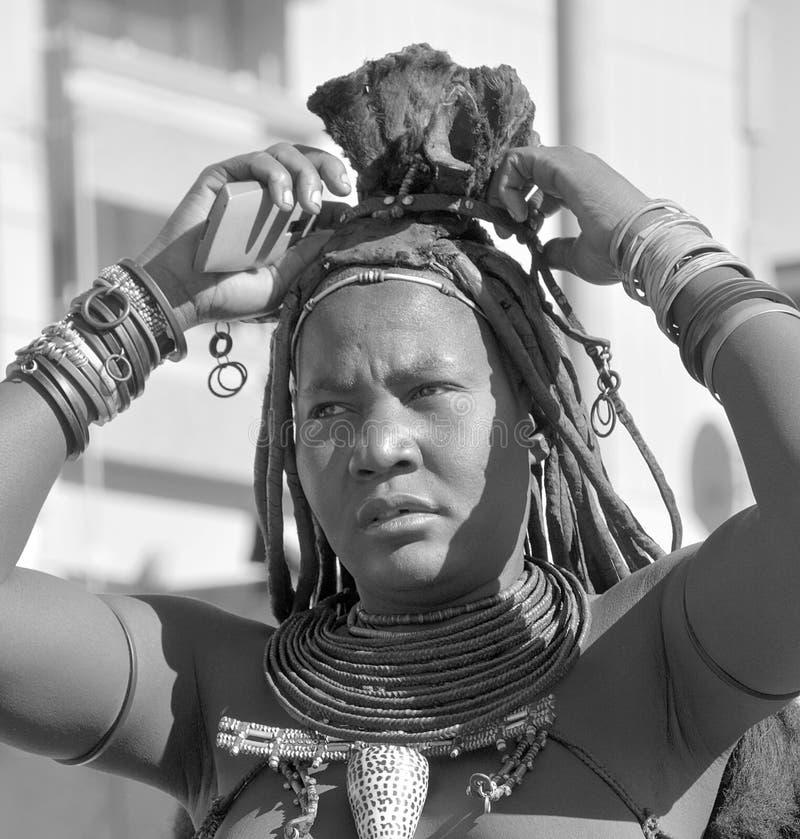 Unidentified child fron Himba tribe. SWAKOPMUND, NAMIBIA OCTOBER 09, 2014: Unidentified child fron Himba tribe living in Mondesa slum of Swakopmund on october 09 stock photo