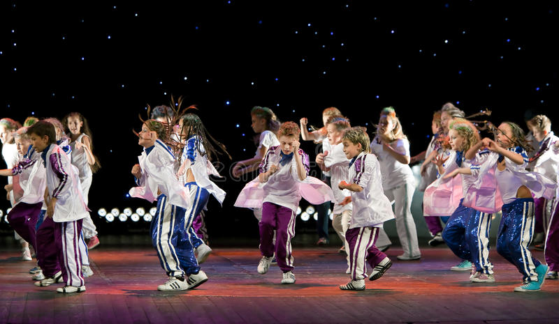 Unidentified children from dancing group Belka royalty free stock images