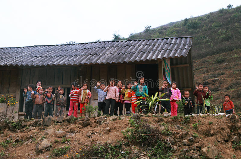 Unidentified children in a shool. HAGIANG, VIETNAM - DECEMBER 6: Unidentified children in a school on December 6, 2011 in Ha giang province. Schools, health and stock photography