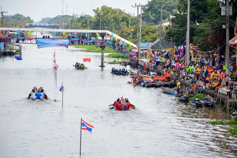 Unidentified crew in traditional Thai long boats compete during Country cup. Traditional Long stock image