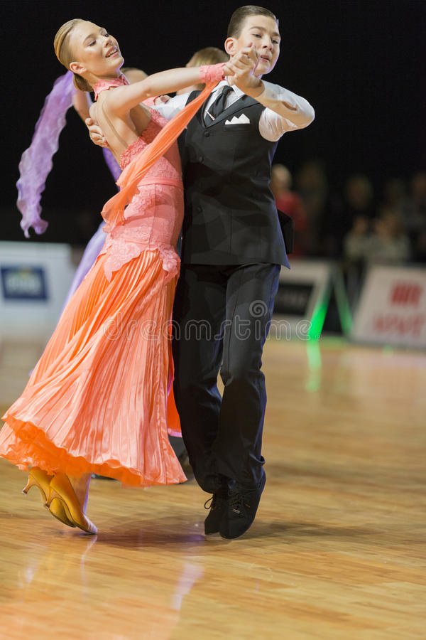 Download Unidentified Dance Couple Performs Juvenile-1 Standard European Program On The WDSF Baltic Grand Prix-2106 Editorial Stock Photo - Image: 83715158