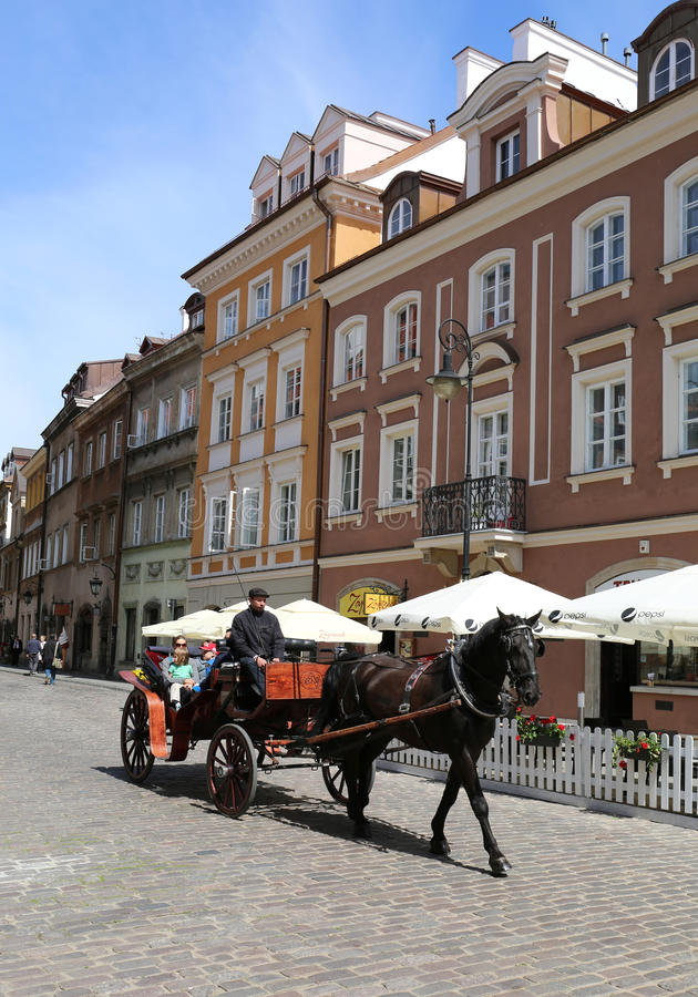 Unidentified Family enjoying Horse Carriage Ride at Old Town stock photography