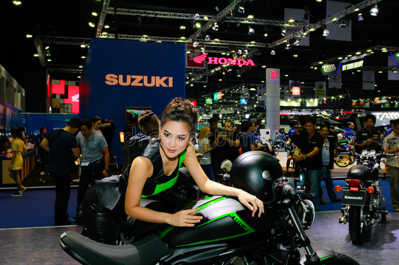 An Unidentified female presenter pose in Bangkok International Motor Show 2017 stock photography