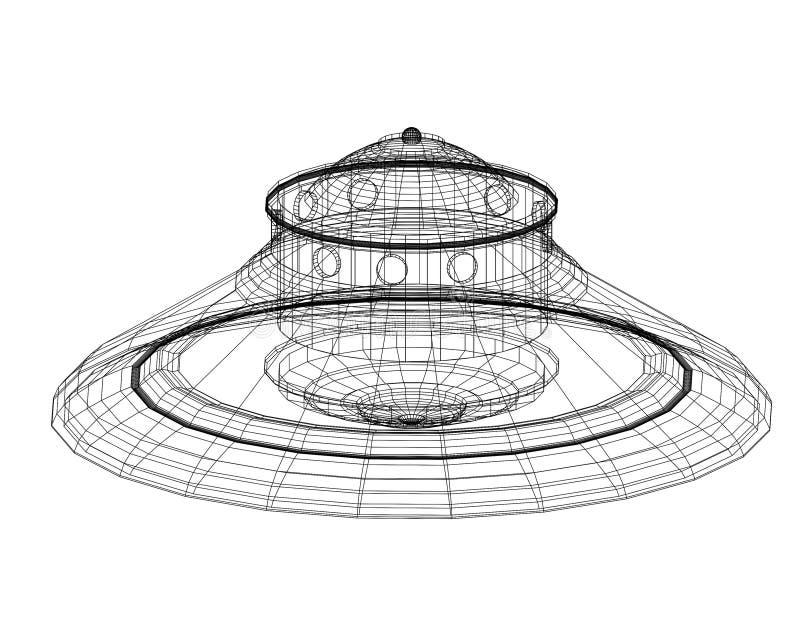 Unidentified flying object - UFO Architect blueprint - isolated vector illustration
