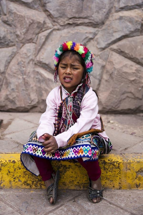 Cute Little Boy With Baby Lama From Cusco, Peru Editorial