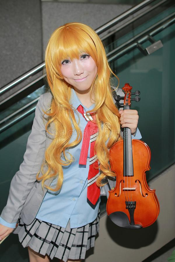 unidentified Japanese anime cosplay pose in Japan Festa stock photography